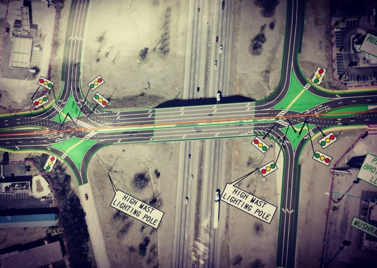Concept layout for I-75 at state route 20 diverging diamond interchange (Georgia DOT photo)