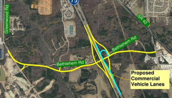 Proposed layout of new I-75 exit at Bethlehem Road