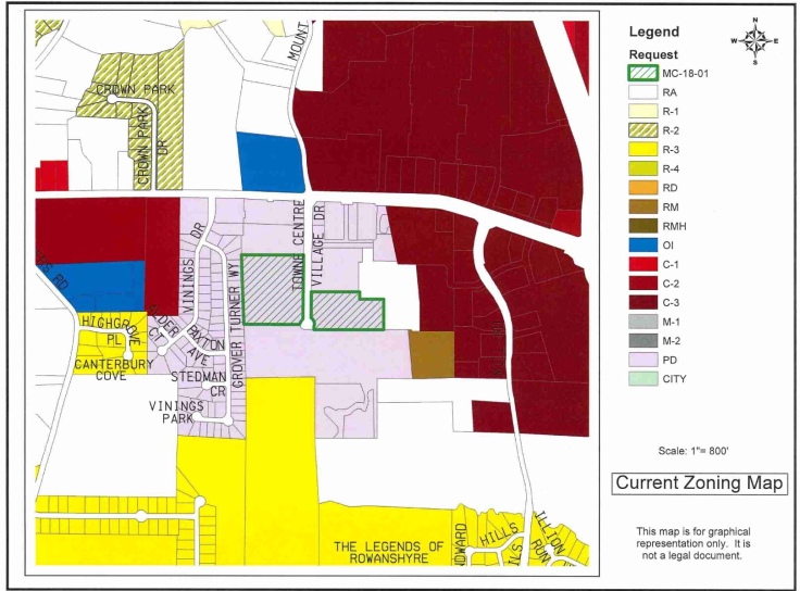 Map of Towne Center Village Drive apartment rezoning