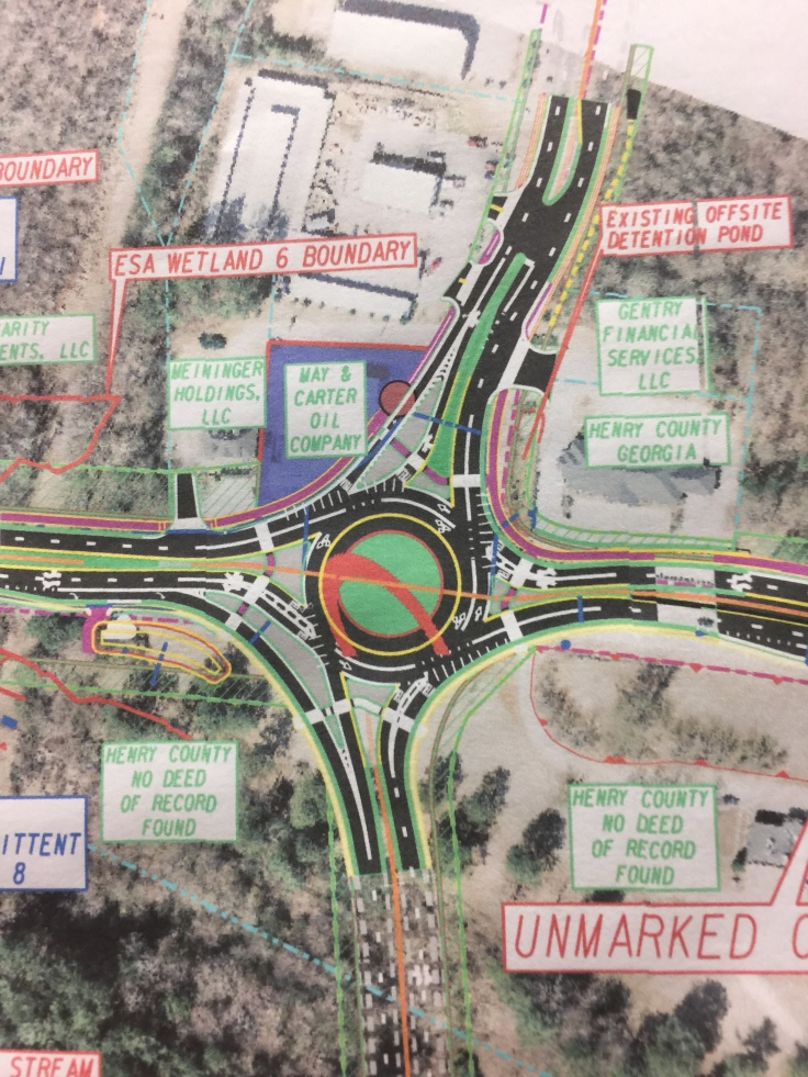 Concept layout for planned roundabout at state route 20 and McDonough Parkway (staff photo)