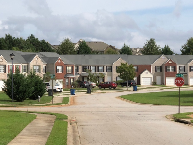 Photo of townhomes in McDonough (staff photo)