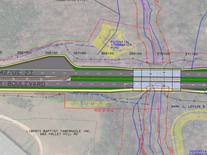 Concept drawing for bridge over Panther Creek (Georgia DOT photo)