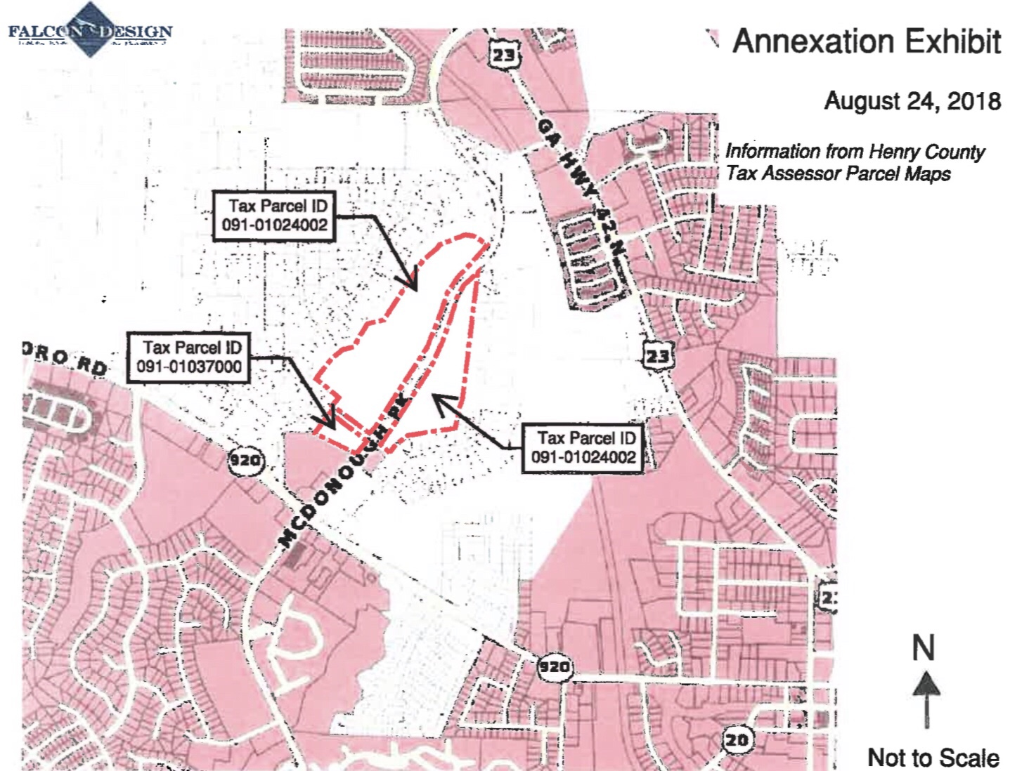 Location map for McDonough Parkway annexation request (Falcon Design photo)