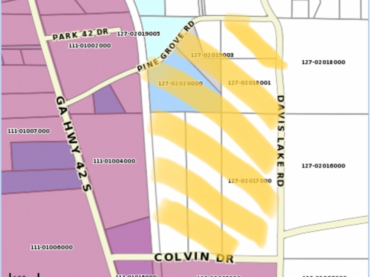 Areas along Colvin Drive annexed into Locust Grove