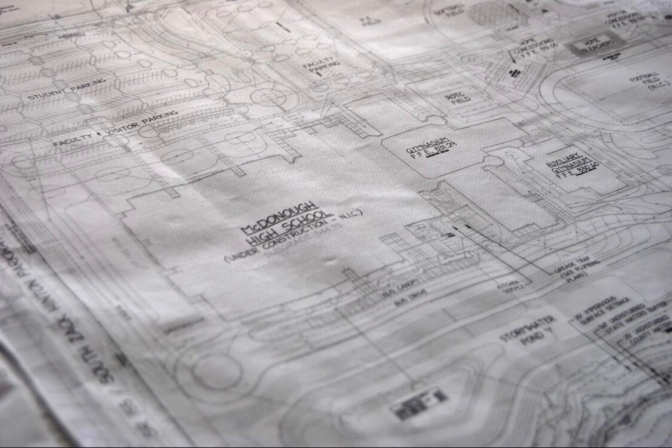 Construction blueprints for McDonough High School