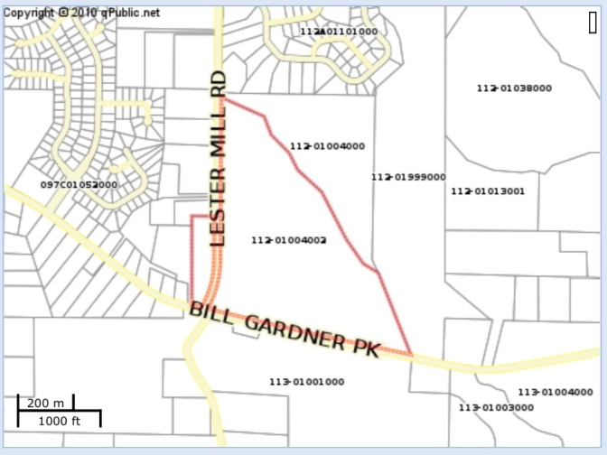 Location of proposed mixed use project at Bill Gardner Parkway and Lester Mill Road