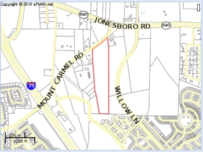 Location of proposed rezoning to RM along Mt Carmel Road