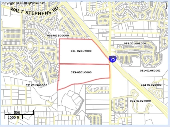Location of proposed rezoning to R-S along Flippen Road