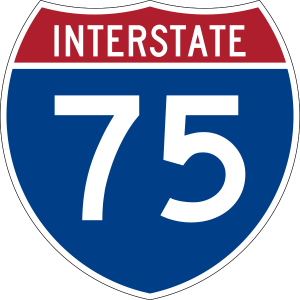 I-75 blue shield road sign