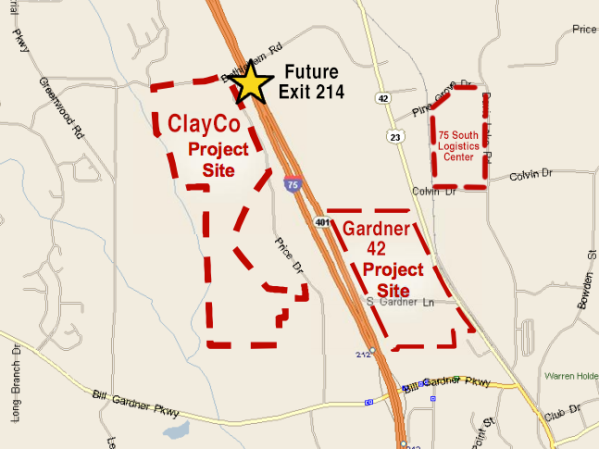 Map of industrial projects in Locust Grove December 2018