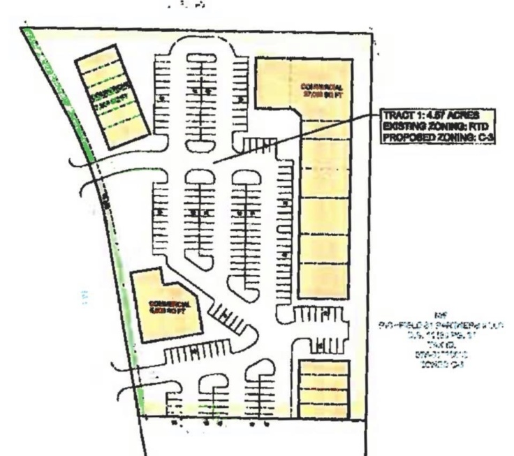 Conceptual site plan for South Point Blvd rezoning
