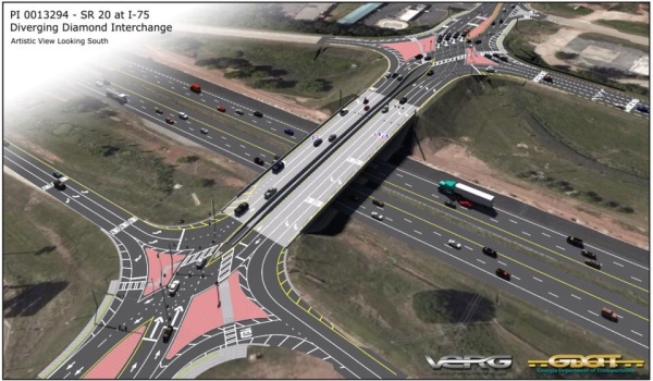 Artistic rendering for diverging diamond interchange project at I-75 exit 218 / state route 20 in McDonough