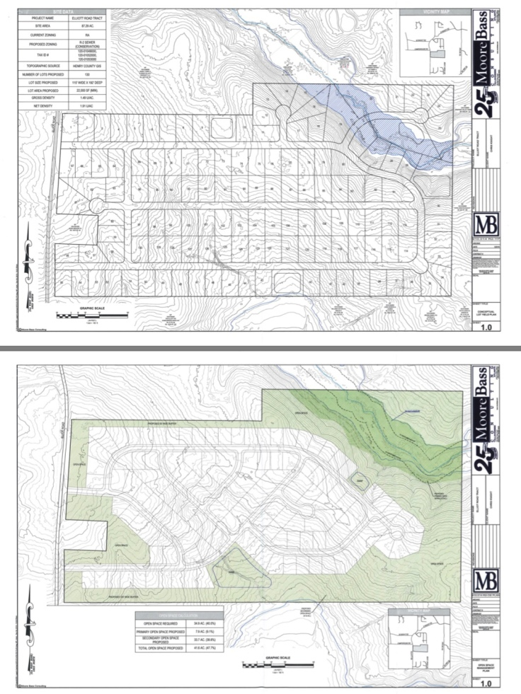 Concept site plan for the 728 Elliott Road rezoning request