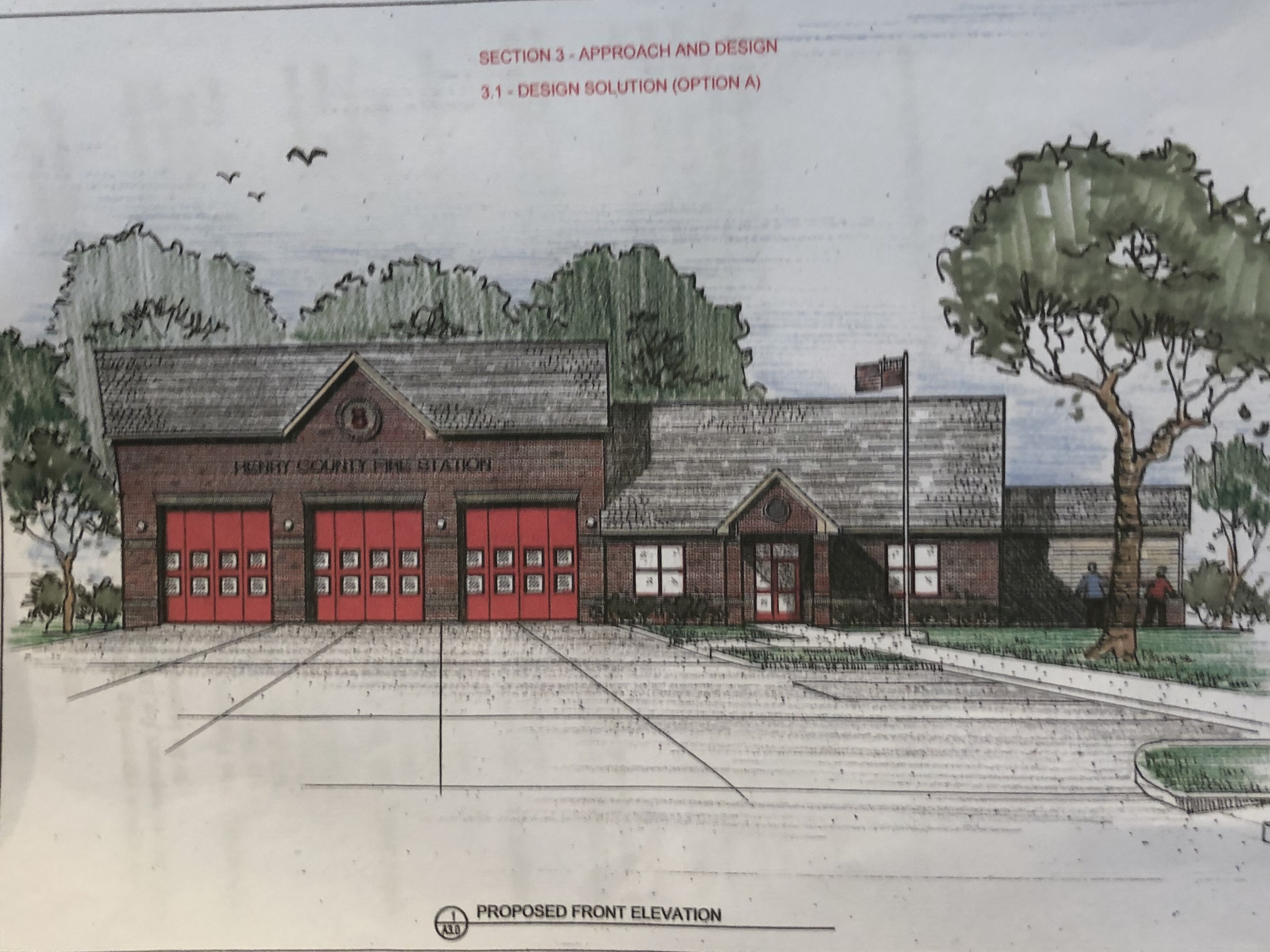 Front elevation of new Fire Station 8 (county photo)