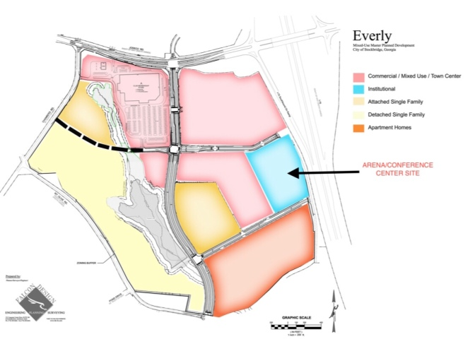 Map of proposed conference center at Everly Henry