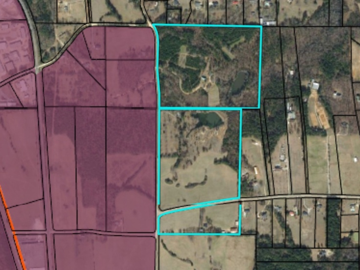 Map of proposed annexations on Davis Lake Road