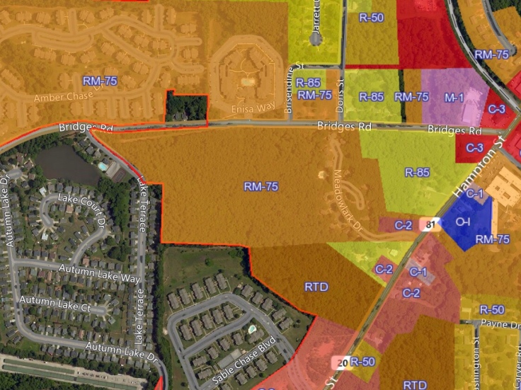 Map of Bridges Road zoning modification request