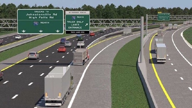 Concept for I-75 commercial vehicle lanes (Georgia DOT photo)