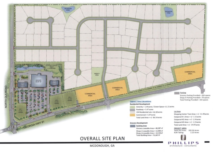 Proposed site plan for the North Ola Road mixed use development