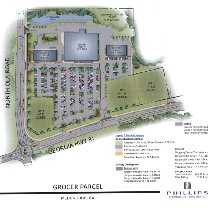 Grocery store site plan at SR 81 and North Ola Road