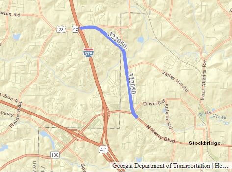 Map of GDOT project 322050 - Widening SR 42 between SR 138 and I-675
