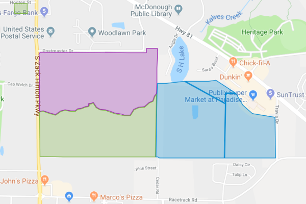 Map of McDonough East developments, between Postmaster Drive and Racetrack Road