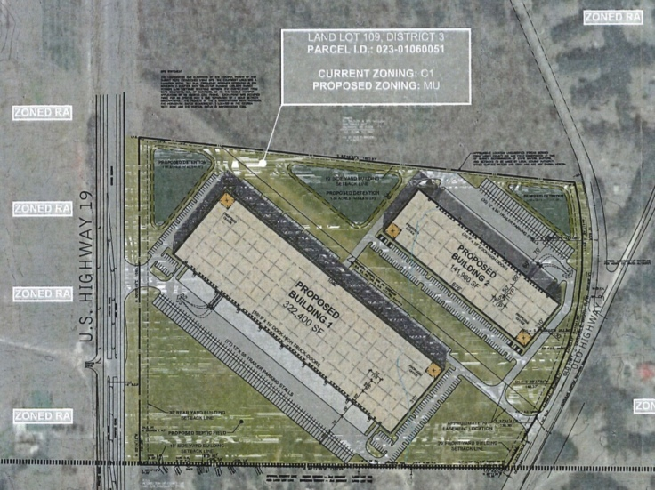 Proposed site plan for US Highway 19 / 41 warehouses