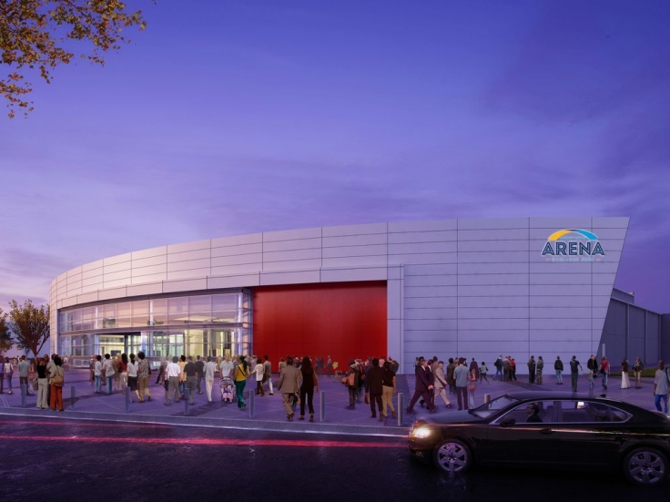 Concept front elevation of Gateway Arena at College Park (Curbed Atlanta photo)