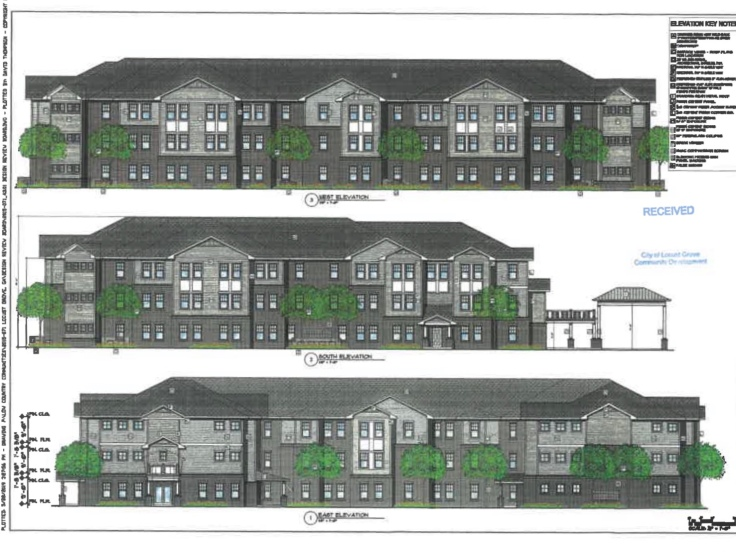 Photo of building elevations for Locust Grove senior apartments