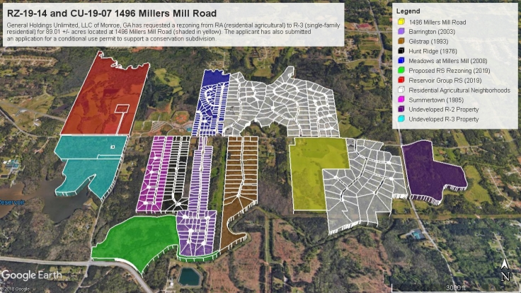Google Earth map of developments on Millers Mill Road
