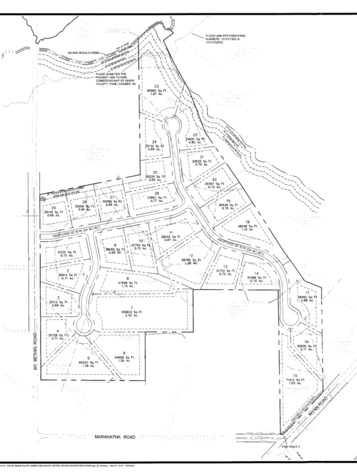 Concept site plan for 469 Mt Bethel Road subdivision