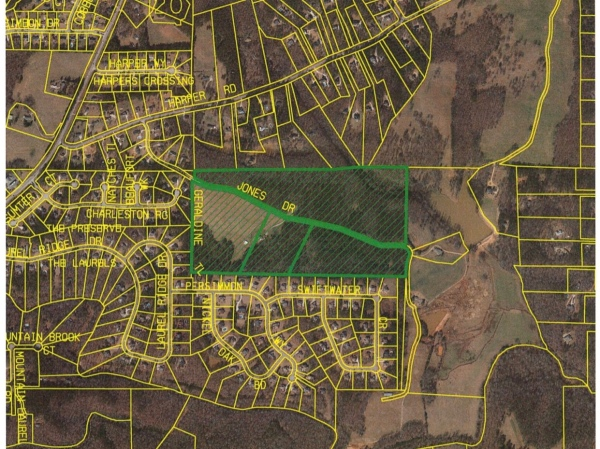 Map depicting subject properties proposed for rezoning on Jones Drive (Henry County photo)