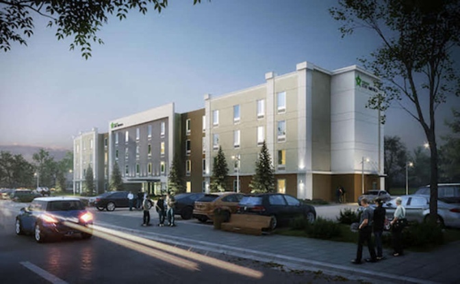 Concept elevation for proposed Extended Stay America hotel (TGC Group photo)