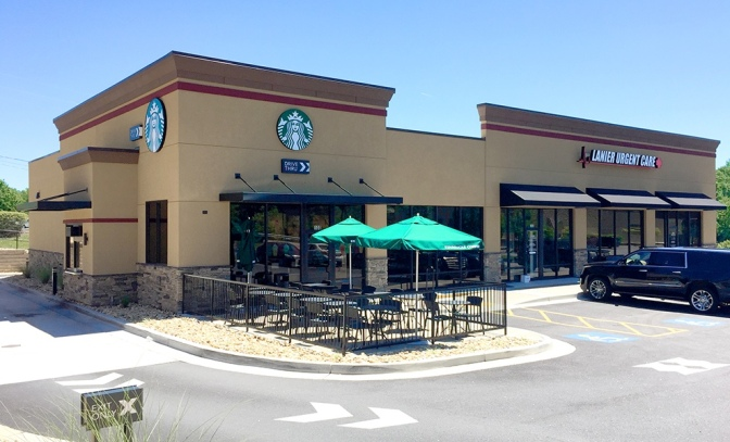 Example photo showing Starbucks in a shared tenant building