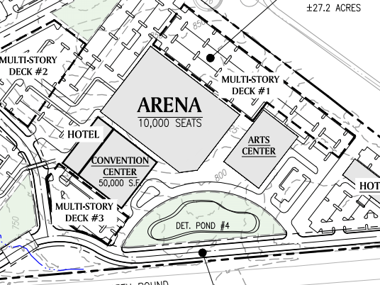 Reeves Creek concept site plan excerpt of convention center and arena