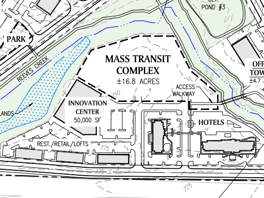 Reeves Creek concept site plan excerpt of mass transit complex