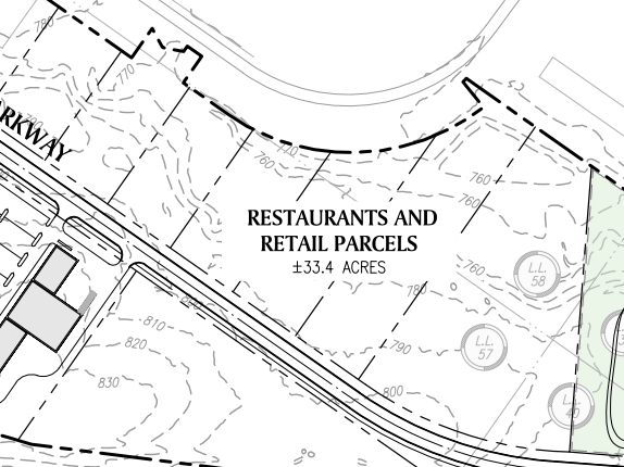 Reeves Creek concept site plan excerpt of restaurants and retail