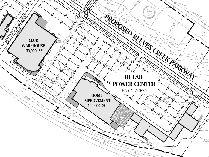 Reeves Creek concept site plan excerpt of retail power center