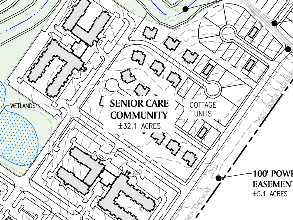 Reeves Creek concept site plan excerpt of senior care community