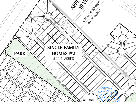 Reeves Creek concept site plan excerpt of single family homes 2