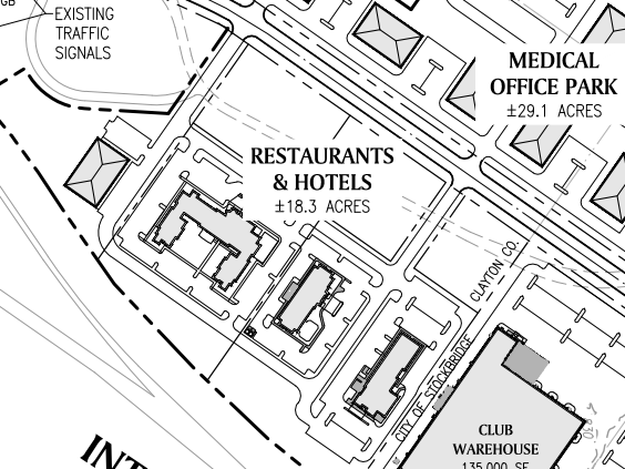 Reeves Creek concept site plan excerpt of restaurants and hotels