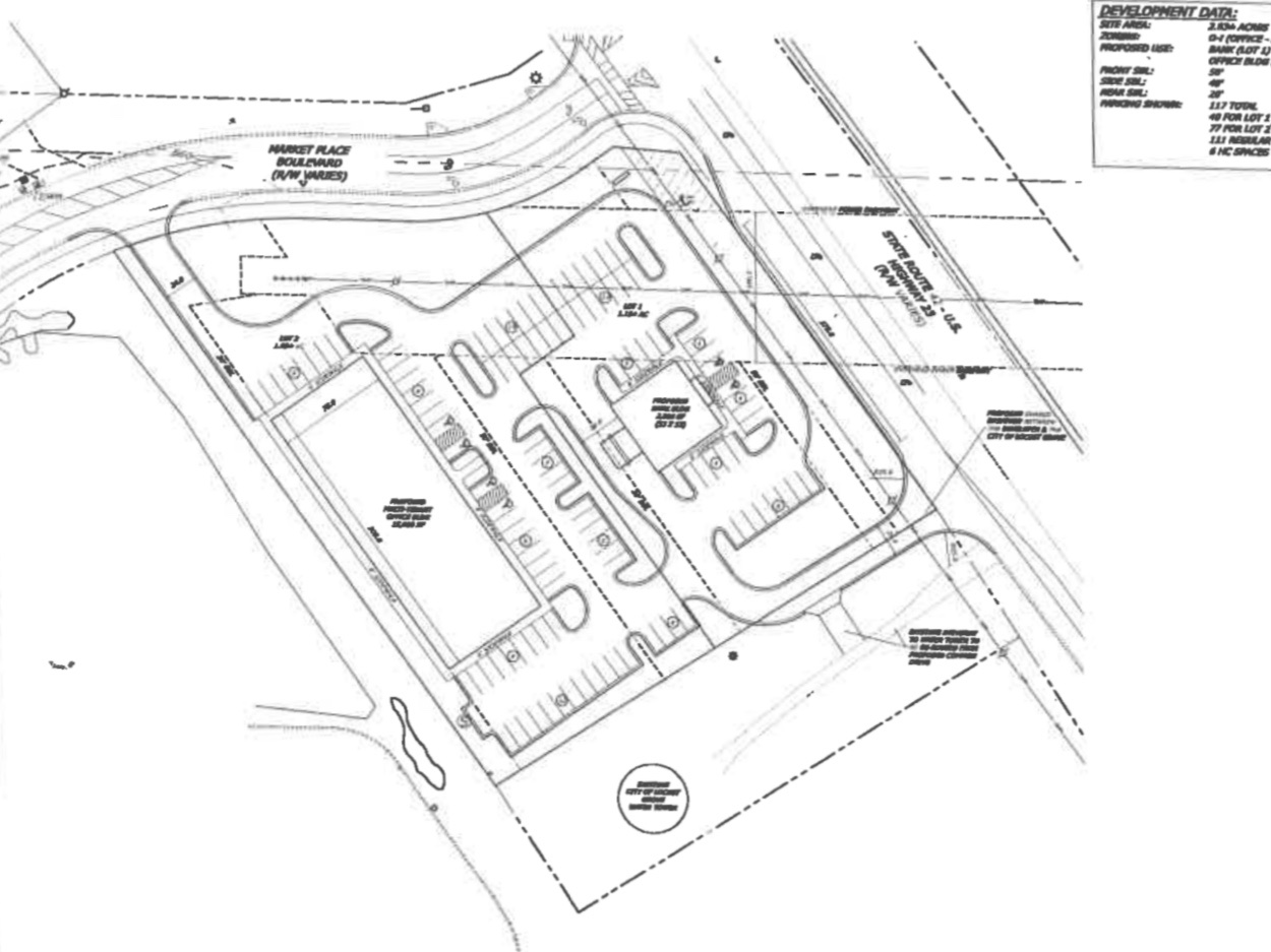 Concept site plan for Marketplace Blvd bank and medical building (applicant photo)