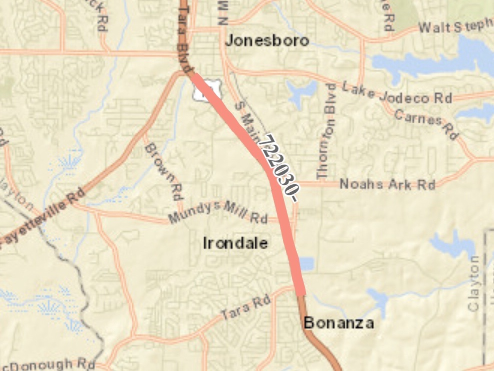 Location map of US 19 / 41 widening in Clayton County (Georgia DOT photo)