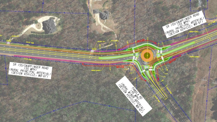 Concept layout for SR 155 at Panola Road roundabout (Georgia DOT photo)