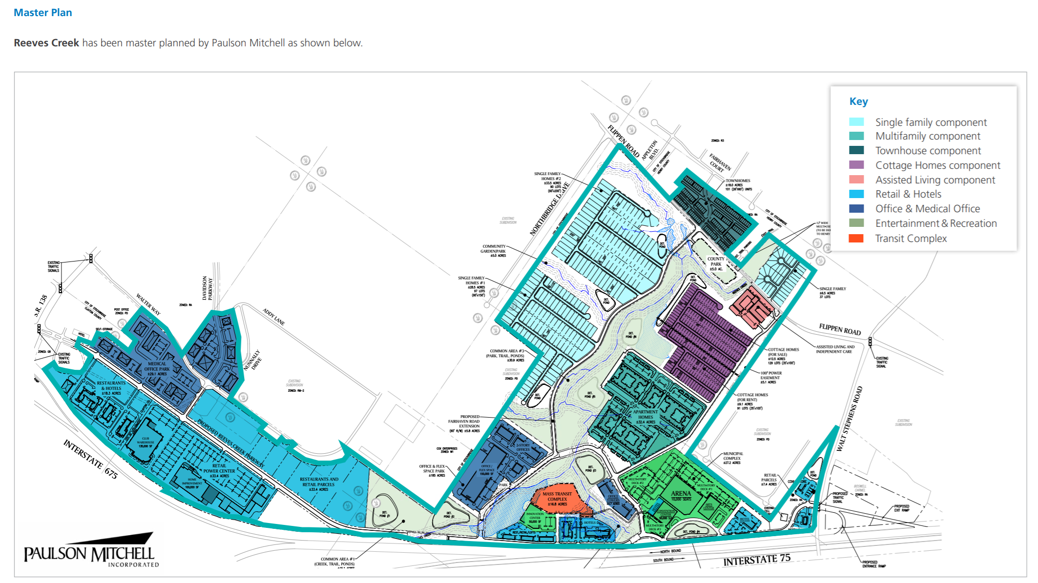 Concept site plan for Reeves Creek development (real estate photo)