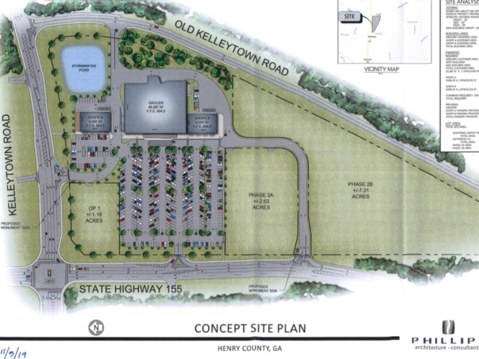 Concept site plan for Kelleytown grocery store (JWA Ventures photo)
