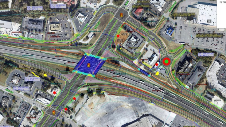 Photo of single-point urban interchange planned at I-20 and SR 20 in Conyers (Georgia DOT photo)