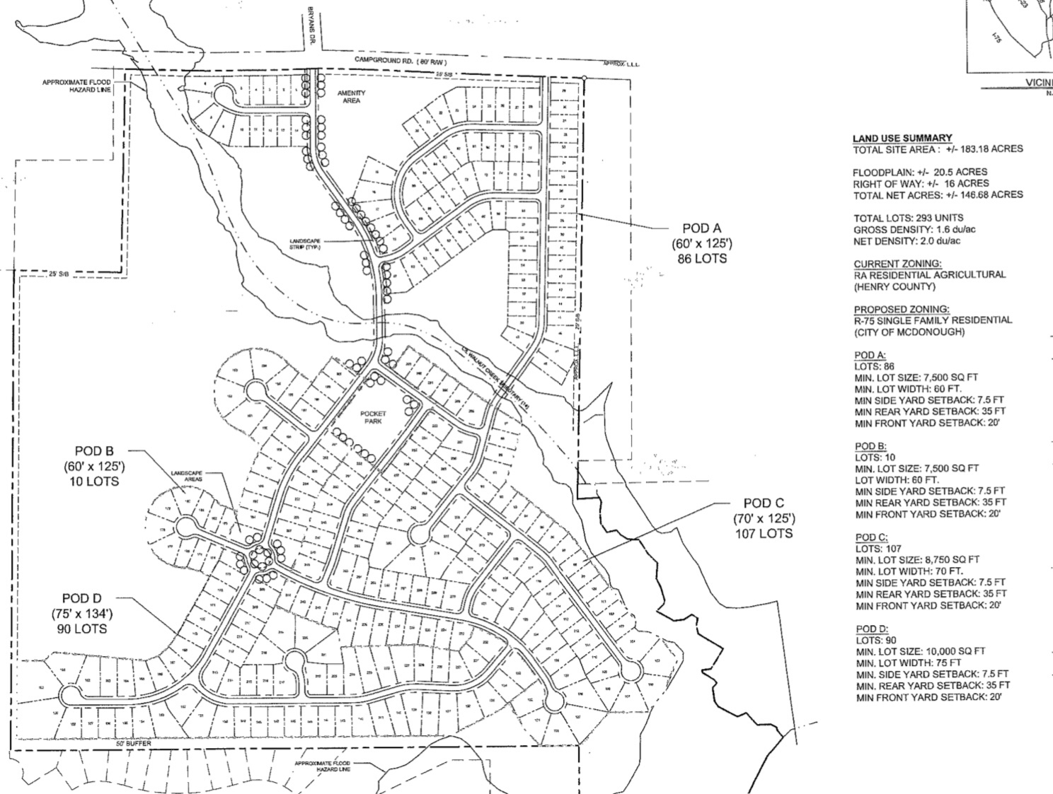 Revised site plan dated October 2019 for Campground Road annexation and rezoning (Falcon Design photo)