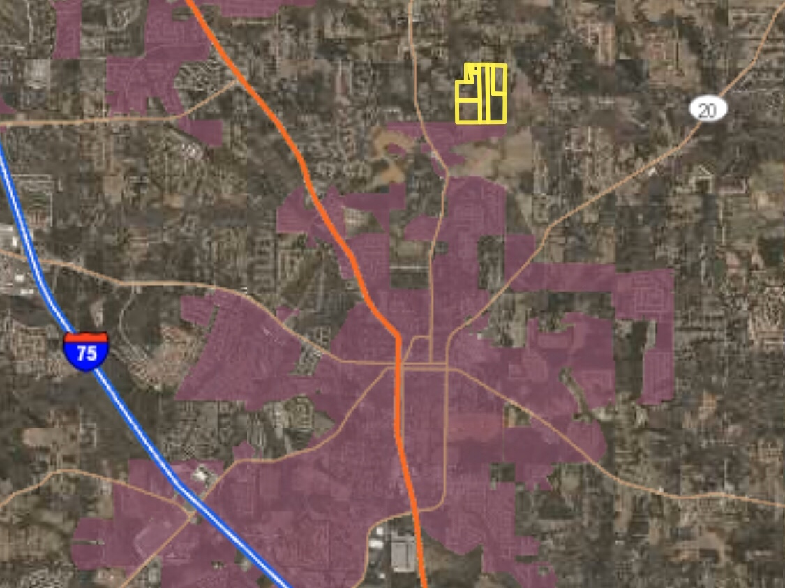 Map showing the proposed annexation on Campground Road in contrast to the existing McDonough city limits (Henry County photo)