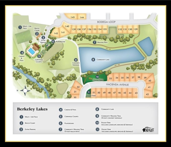 Map of community amenities at Berkeley Lakes subdivision (Knight Homes photo)